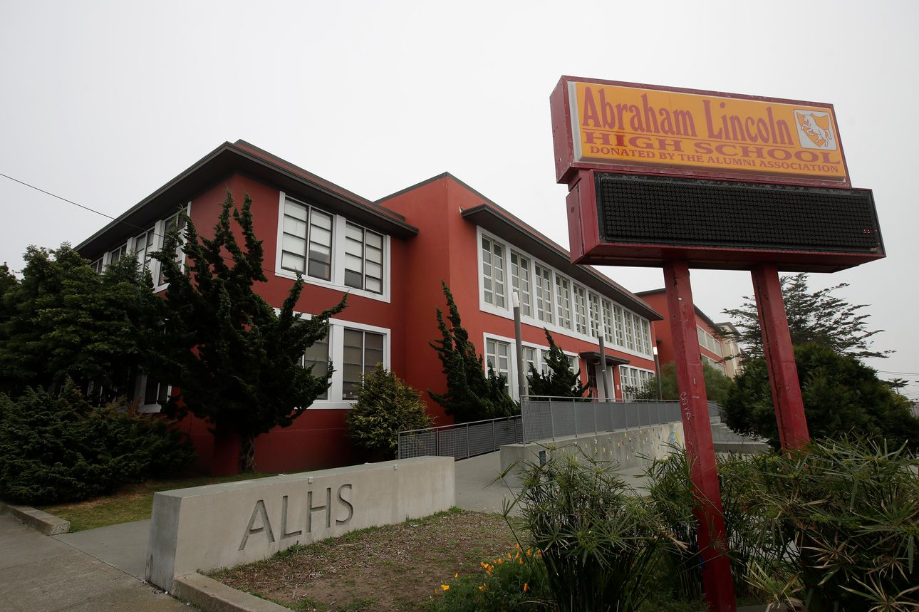 Abraham Lincoln High School stands in San Francisco. PHOTO: JEFF CHIU/ASSOCIATED PRESS