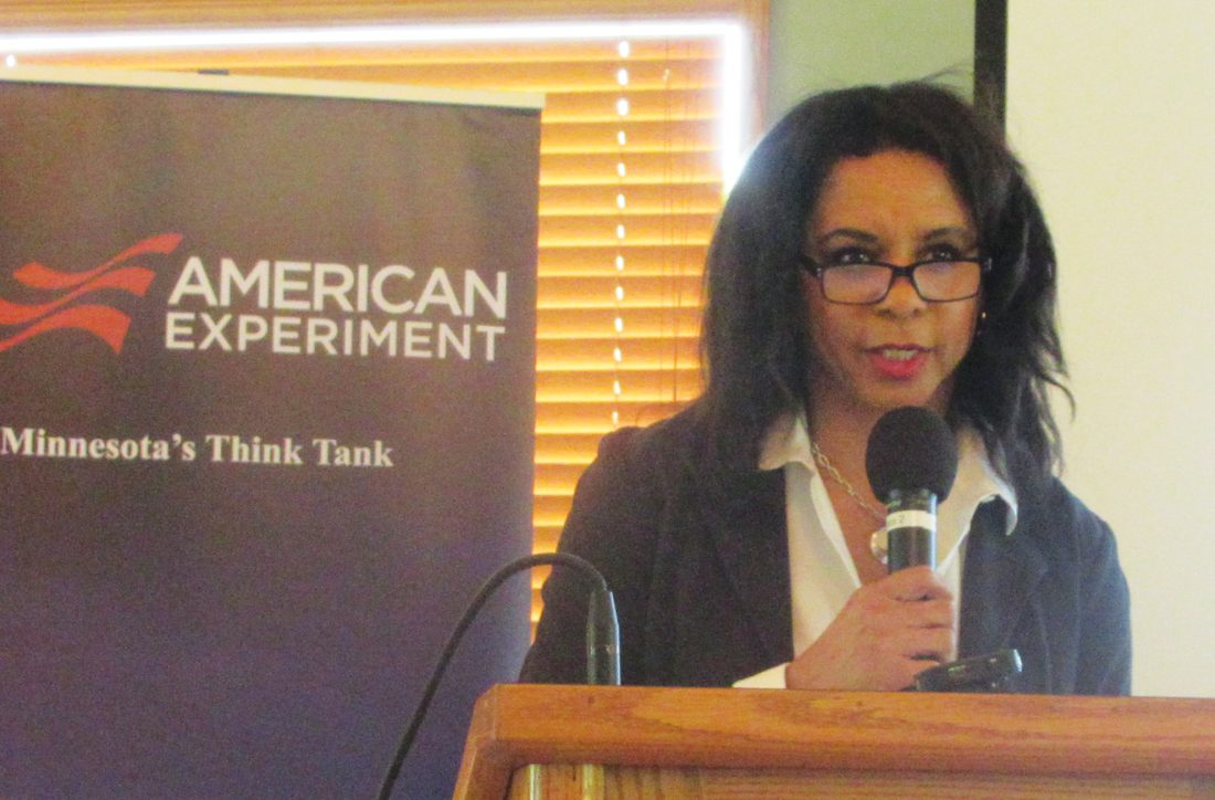 """Photo by Deb Gau. Sheila Qualls, a speaker with the conservative think tank Center of the American Experiment, addressed an audience at the Marshall Golf Club on Thursday. Speakers at the event claimed """"critical race theory"""" was affecting Minnesota schools."""